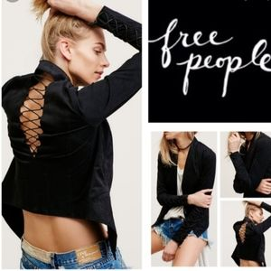 Free People bare back faux suede crop jacket 0